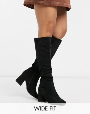 Черные сапоги на высоком каблуке для широкой стопы New Look-Черный Look Wide Fit