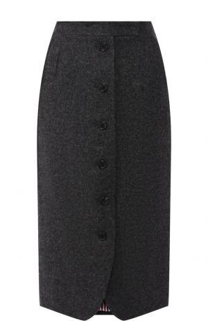 Шерстяная юбка-миди на пуговицах Thom Browne. Цвет: серый