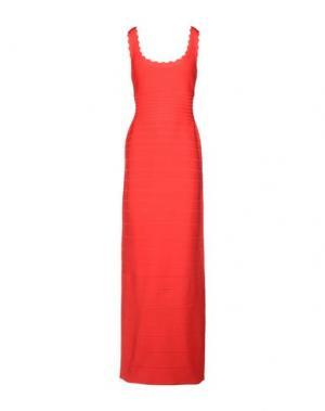 Длинное платье HERVÉ LÉGER. Цвет: коралловый