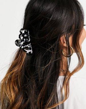 Каучуковая черно-белая заколка для волос -Черный цвет ASOS DESIGN
