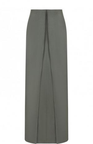 Однотонная юбка-макси из вискозы Valentino. Цвет: зеленый