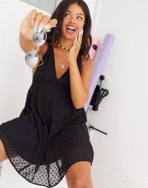Платье мини А-силуэта в горошек -Черный ASOS DESIGN
