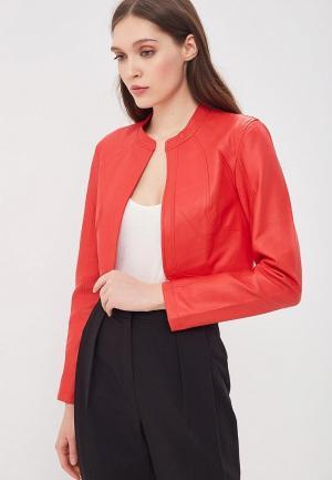 Куртка кожаная Jacqueline de Yong. Цвет: красный