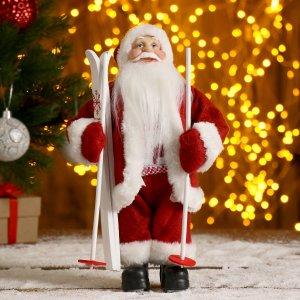 Дед мороз в красной шубке на лыжах 29 см Зимнее волшебство