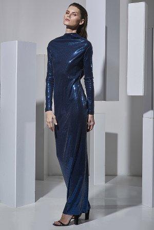 Вечернее платье в пол с открытой спиной VASSA&Co. Цвет: синий
