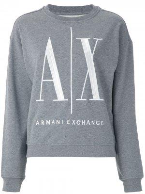 Толстовка с круглым вырезом и вышитым логотипом Armani Exchange. Цвет: серый