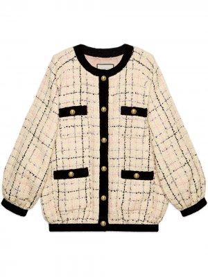Твидовая куртка-бомбер кроя оверсайз Gucci. Цвет: нейтральные цвета