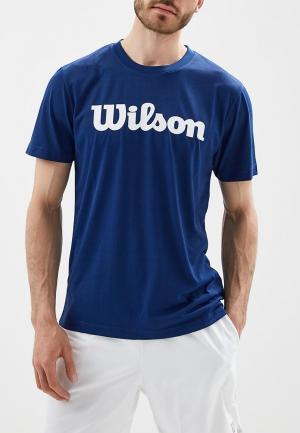 Футболка спортивная Wilson M UWII SCRIPT TECH TEE. Цвет: синий