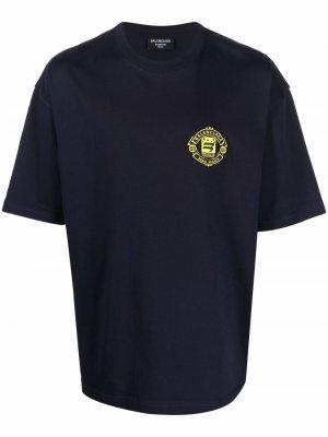 Футболка с вышитым логотипом Balenciaga. Цвет: синий