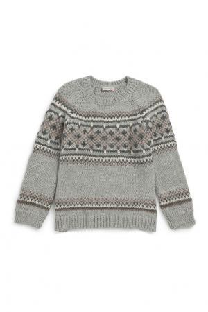 Пуловер серый из альпаки Bonpoint. Цвет: серый