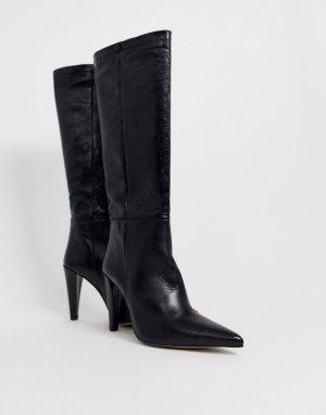 Черные ботфорты на коническом каблуке -Черный Topshop