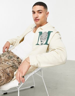 Бежевая трикотажная спортивная куртка в стиле oversized с принтом логотипа на груди -Светло-бежевый ASOS DESIGN