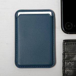 Кожаный чехол-бумажник luazon, поддержка magsafe для iphone 12/13/pro/mini/pro max, синий Luazon Home
