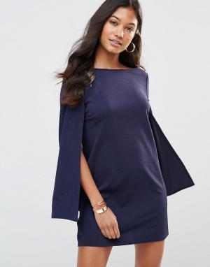 Цельнокройное платье с рукавами‑кейп Rare. Цвет: темно-синий