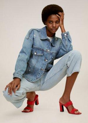 Кожаные сандалии с ремешками - Dos Mango. Цвет: красный