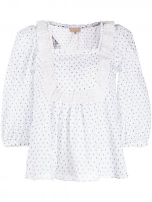 Блузка Victorian с цветочным принтом byTiMo. Цвет: белый