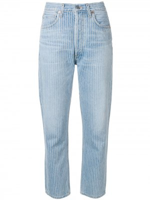 Укороченные джинсы с полосками Citizens of Humanity. Цвет: синий