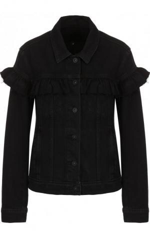 Джинсовая куртка с оборками и потертостями Paige. Цвет: черный