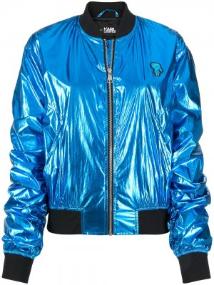 Бомбер с эффектом металлик Karl Lagerfeld. Цвет: синий