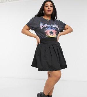 Плиссированная теннисная мини-юбка -Черный цвет Daisy Street Plus