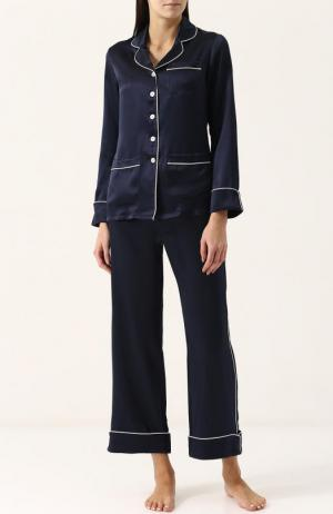 Шелковая пижама с контрастной отделкой Olivia Von Halle. Цвет: синий