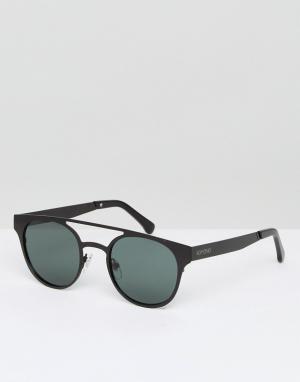 Солнцезащитные очки в круглой черной оправе с двойной переносицей Komo Komono. Цвет: серебряный