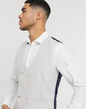 Серый жилет скинни с узором гусиная лапка Burton Menswear