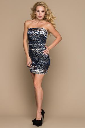 Платье Gloss. Цвет: темно-синий, леопард