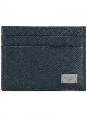 Классическая визитница Dolce & Gabbana. Цвет: синий