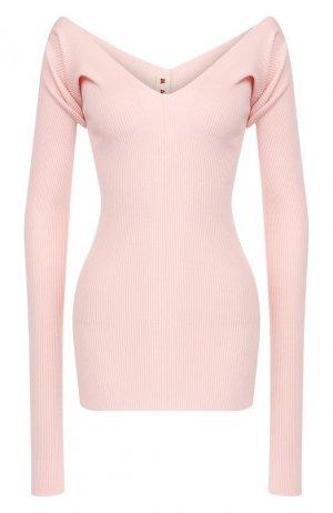 Шерстяной пуловер Marni. Цвет: светло-розовый