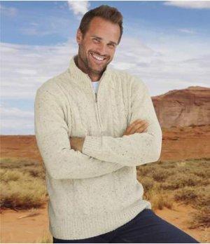 Пуловер с Воротником-стойкой на Молнии Atlas For Men. Цвет: кремовый