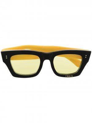 Солнцезащитные очки в квадратной оправе DUOltd. Цвет: желтый