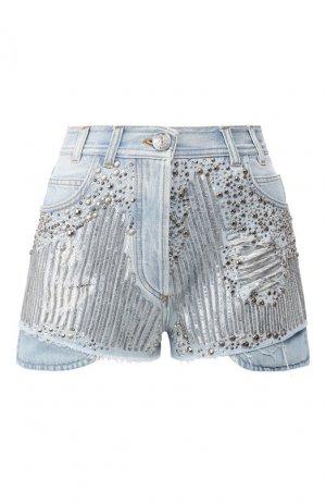 Джинсовые шорты Balmain. Цвет: голубой