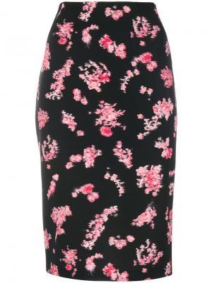 Юбка-карандаш с цветочным принтом Pinko. Цвет: черный