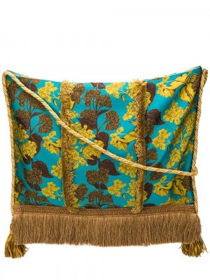 Жаккардовая сумка-тоут с цветочным узором Gianluca Capannolo. Цвет: синий