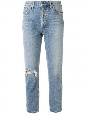 Riley high-rise cropped jeans AGOLDE. Цвет: синий