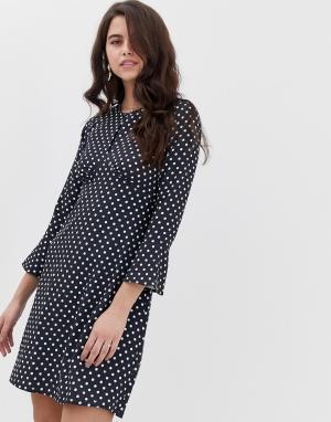 Платье-туника с вырезом и расклешенными рукавами Closet-Темно-синий Closet London