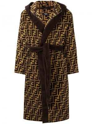 Халат с жаккардовым логотипом FF Fendi. Цвет: коричневый