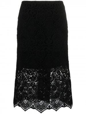 Кружевная юбка миди Ermanno Scervino. Цвет: черный