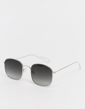 Солнцезащитные очки с серебристой оправой -Серебристый Weekday