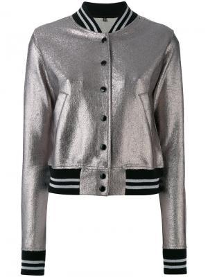 Куртка-бомбер на пуговицах R13. Цвет: металлический