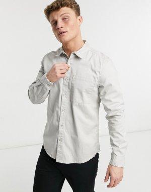 Светло-серая саржевая рубашка с длинными рукавами -Серый New Look