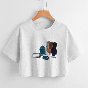Лак для ногтей принтом Кроп-футболка SHEIN. Цвет: светло-серый