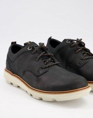 Черные кожаные ботинки на шнуровке CAT Brusk-Черный Footwear
