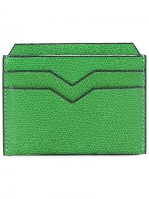 Классическая визитница Valextra. Цвет: зеленый