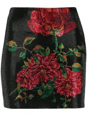 Декорированная юбка мини с цветочным узором Philipp Plein. Цвет: черный