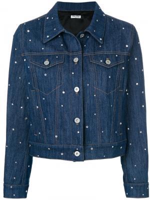 Джинсовая куртка с украшением из кристаллов Miu. Цвет: синий
