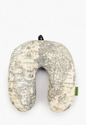 Подушка декоративная Gekoko Подголовник. Карта Антик. Цвет: бежевый