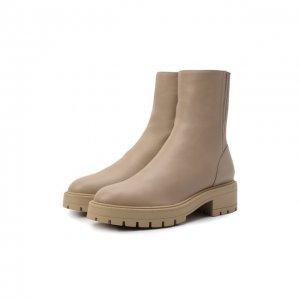 Кожаные ботинки Saint Honore Aquazzura. Цвет: бежевый