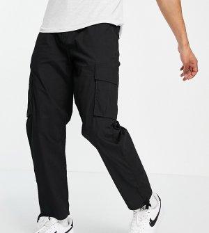 Черные брюки карго классического кроя из ткани рипстоп -Черный New Look